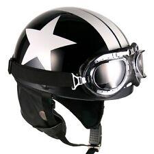 [ Black-White Star ] Goggle Helmets Half Face Vintage Motorcycle Motorbike