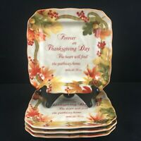 Set of 4 Square Appetizer Plates by 222 Fifth Autumn Celebration Thanksgiving