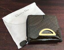 2f934fe29c Vintage Christian Dior Wallet Logo Patent Leather Zip Around Dark Green
