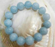 "Natural 14MM Brazilian Aquamarine Gems Round Beads Stretchy Bracelets 7.5"" AA"