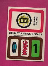 1979-80 TOPPS BRUINS HELMET AND STICK DECALS INSERT NRMT-MT (INV# 8259)