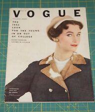 August Vogue 1952 Rare Vintage Vanity Fair Fashion Design Collection Magazine