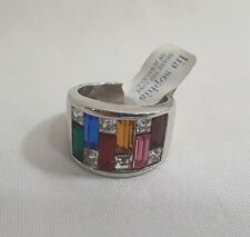 Lia Sophia Ring MULTI COLORED RHINESTONES Size 8 THICK SILVER TONE New Tags  #25