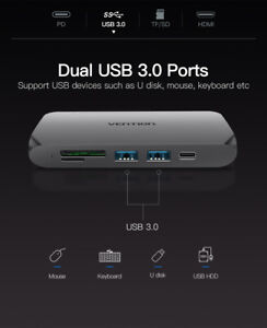 Type-C HUB USB-C TO 2XUSB3.0 TF SLOT PD POWER ADAPTOR MAC-PRO CONVERTER CABLE
