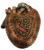 Steampunk Heart Shaped Engine Trinket Box Resin Faux Copper & Steel