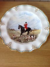 ROYAL CROWN DERBY 'Lombardy' Hunting Scene Cabinet Plate, Signed, 1st Ex. Cond.