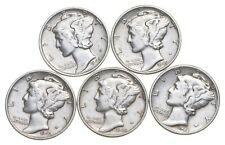 Lot of 5 AU/Unc 1940-1945 Mercury Silver Dimes Coin Collection *173