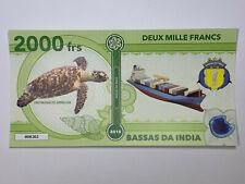 2018 Bassas da India 2000 francs Fantasy Note with Hawksbill Sea Turtle