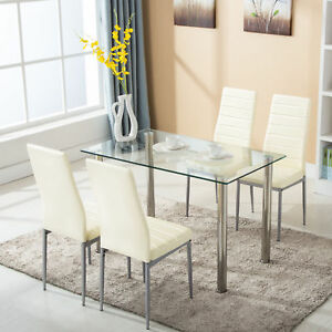 5 Piece Dining Table Set 4 Chairs Glass Metal Kitchen Room Breakfast...