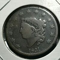 1831 LARGE CENT CORONET HEAD NICE COIN