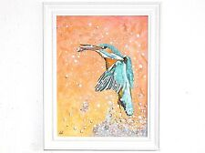Wildlife art - Original oil painting on board. Kingfisher by Neil Hampson.