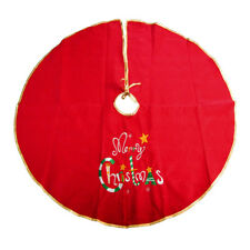 Embroidered Felt Christmas Round Tree Skirt, Red, 42-Inch