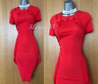 UK 12 KAREN MILLEN Red Jersey Frill Office Party Cocktail Wiggle Pencil Dress 40