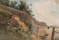 SIR GEORGE CHARLES D'AGUILAR Painting FIGURES & DOG IN LANDSCAPE c1840