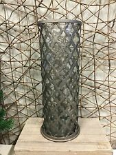 Parlane grey moroccan style fretwork metal hurricane candle holder h39cm