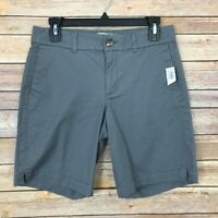 Old Navy Womens 2 Everyday Cotton Chino Midi Shorts Mid Rise Solid Gray Stretch
