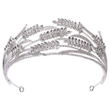5.6cm High Wheat Ears Crystal Tiara Crown Wedding Bridal Party Pageant Prom