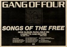 """29/5/82PGN16 GANG OF FOUR : SONGS OF THE FREE ALNUM/LIVE DATES ADVERT 7X11"""""""