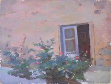 BACKYARD 1950s,Armenia,Soviet Impressionist Painting,Armenian Art,HARUTYUNYAN