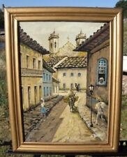 Antique Oil Painting Brazil Street Scene Gold Frame Signed Museum Quality