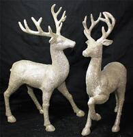 "Reindeer Deer Statue Figurine 13"" Raz Imports New Set of 2 Gold Silver Christmas"