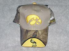 Realtree Hat- Iowa - Green, Brown & White Camo - Unfrayed Bill