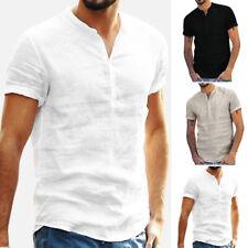 Hombre Verano Casual Transpirable Sólido de Pie Cuello Manga Corta Camiseta
