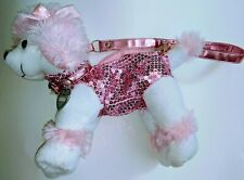 Confetti New White Pink Plush Stuffed Sequin Poodle Dog Zippered Purse Bag Tote