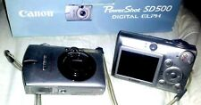 2 Canon Powershot Lot SD500 7.1MP Digital Elph Camera With3x Optical Zoom 4Parts