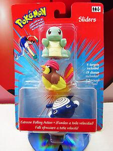 POKEMON SLIDERS 07 Squirtle 18 Pidgeot 61 Poliwhirl 2000 Nintendo Hasbro Vintage