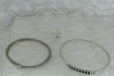 3 Silver plated Fashion Bangle hinged Bracelets ~ Sapphire Believe cz Cross
