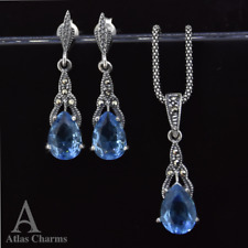 925 Sterling Silver Earrings Topaz Pendant Necklace jewellery Sets Wedding gifts