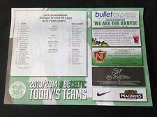 2013/14 Celtic v Ross County August teamsheet