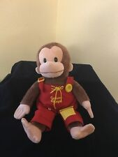 "Gund Curious George Teach Me 16"" Overalls Buttons Monkey Plush"