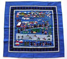"""Hmong Hand Made Embroidered Folk Story Cloth, Mekong River & Airport (28""""x29"""")"""
