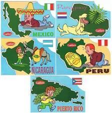 Lote de 5 postales Países Cuétara. Puerto Rico, Perú, Paraguay, Nicaragua y Méxi