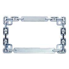 Chrome Metal Chain Motorcycle Bike License Plate Tag Frame Holder / Harley Honda