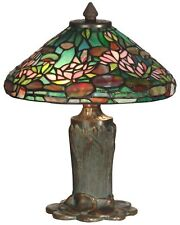 Dale Tiffany Floral Leaf Antique Bronze/Verde Table Lamp W/ 2 Light 40W NEW