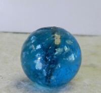 #12642m Vintage German Handmade Blue Glass Mica Marble .60 Inches