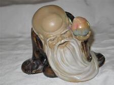 Superb Chinese Glazed Earthenware Figurine Wise Old Elder with Dog