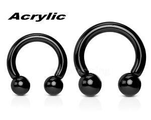 2x 16g to 0g Black Acrylic Horseshoe Circular Barbell Nipple Lip Earring Septum