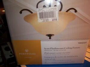 NEW PORTFOLIO Flushmount ceiling fixture 044227 FREE SHIPPING