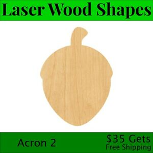 Acron 2 Laser Cut Out Wood Shape Craft Supply - Woodcraft Cutout