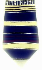 "AXXA Mens Tie 58"" Uneven Horizontal Stripe Geometric Black Tan Burgundy Silk USA"