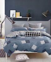 Geo Stripes Cotton Bedding Set: 1 Duvet Cover 2 Pillow Shams  Queen/King/Cal K