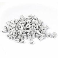M6  Aluminum Flat Head Rivet Nut Insert Nutsert Silver Tone 100pcs
