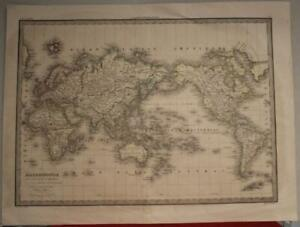 1838 PIERRE LAPIE ANTIQUE LITHOGRAPHIC WORLD MAP ON MERCATOR'S PROJECTION