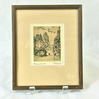"SUTTON WOOD FRAMED DRYPOINT ETCHING CALIFORNIA ST SF PENCIL SIGNED 7""X8.5""FRAME"