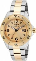 New Mens Invicta 13996 Pro Diver 45mm Two Tone Stainless Steel Gold Dial Watch