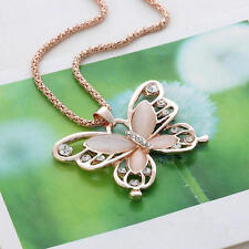 Women 70cm Long Rose Gold Chain Crystal Opal Butterfly Pendant Necklace Jewelry